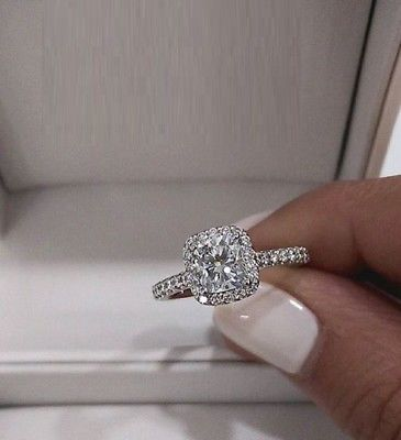 2-0Ct-Cushion Halo Diamond Solitaire Engagement Wedding Ring Real 14k-White-Gold