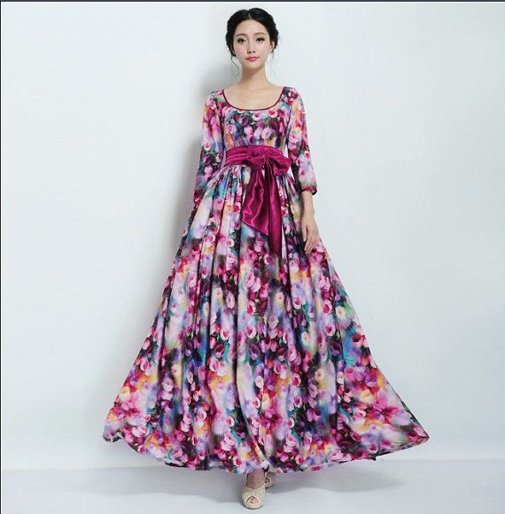 2e3122b5a40e SALE Bohemian Floral Print Maxi Aline Dress Wedding by ChineseHut ...