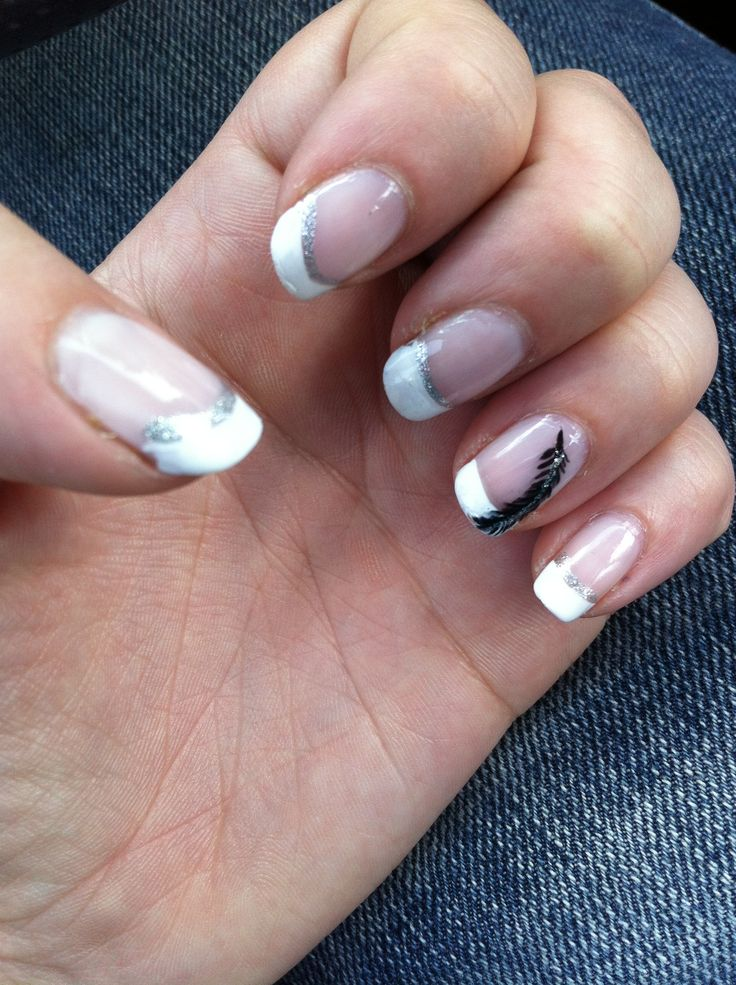Glitter French tip manicure with feather nail art - by Heather B @ VIP Salon - Riverview, MI