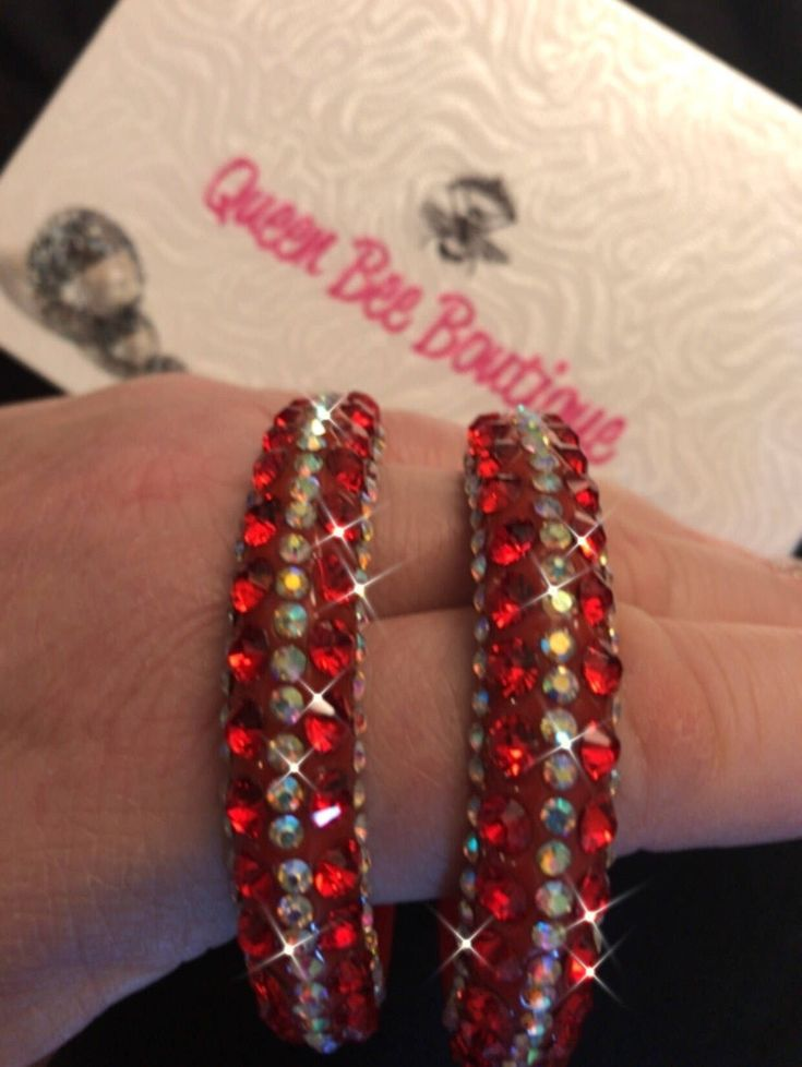 Excited to share the latest addition to my #etsy shop: Red Crystal  Hoop Earrings  Pageant/ Swimwear #luck