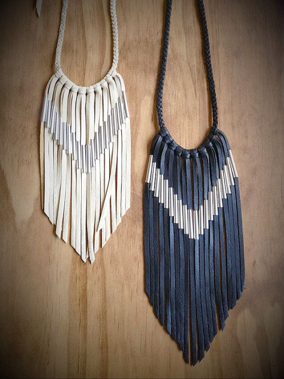 Chevron Leather Fringe Necklace by nativerainbow on Etsy, $78.00