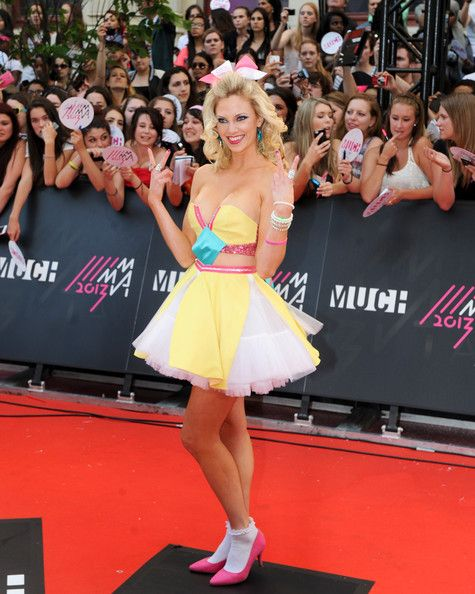 Nicole Arbour at the MuchMusic Video Awards wearing a custom design from Maybe by Carafalo and Monikque Jewellery earrings.