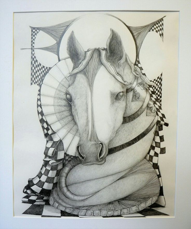 Chess knight drawn with a 2b pencil DLG 2017