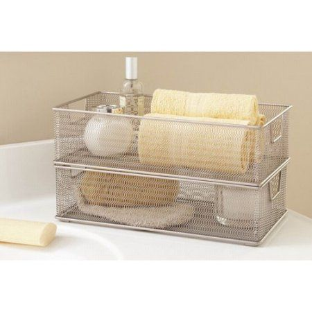 Keep your home or office neat and tidy by organizing items in a rectangular Wire Mesh Storage Tray from Tidy Living. The versatile storage trays can be used throughout the home or office to corral clutter, organize office supplies, contain keys and more. The open top design provides easy access while simple, straight, generously-proportioned sides prevent items from falling out of the tray.