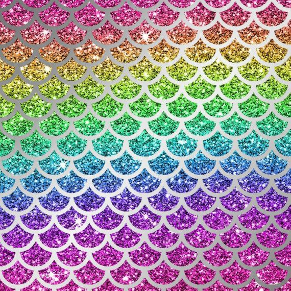 Mermaid Scale Digital Paper Rainbow Glitter Mermaid Scales Etsy
