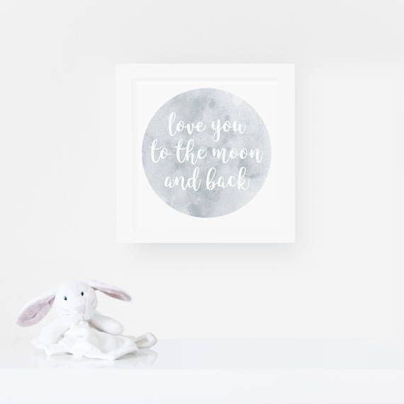 Love you to the moon and back - Nursery Quote Print - Nursery Decor.  Our Standard Print is printed on a bright white, matt poster paper (230gsm). Our Premium Print is printed on a neutral white, lightly textured cotton paper (300gsm) for a little extra luxury. We recommend this paper if youre framing with a mount, in a white frame or just for a special occasion.  // DETAILS //  Available in 3 sizes.  Print measures 15 x 15 cm / 23 x 23 cm / 30 x 30 cm  All our p...