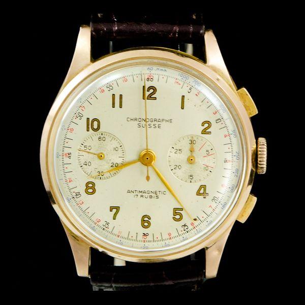 Chronograph suisse-Antimagnetic, chronograph. Disponible immédiatement sur notre site: http://www.joaillerie-royale.com/114-montres-vintage