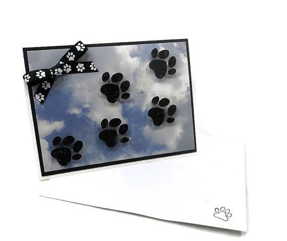"""I make pet sympathy cards because I know all too well the heart ache of losing a beloved pet. My pet sympathy cards are my featured items in my Rescue Mama """"Anima"""" line of products. """"Anima"""" is the Latin word for soul, and I strive to touch the souls of those grieving the loss of their pet with my cards. The size of this pet sympathy card is 5x6.5. This card is appropriate for cat or dog bereavement. The base card and envelope are made of white card stock. The front cover is a blue and white…"""