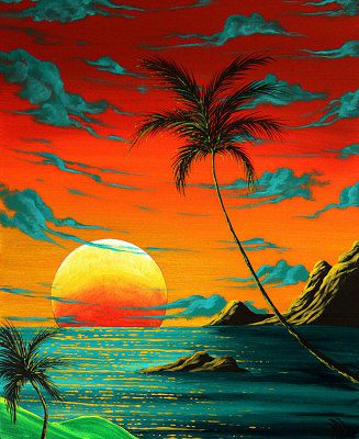 Tropical Coastal Surreal Beach Art TROPICAL BURN Painting at ArtistRising.com