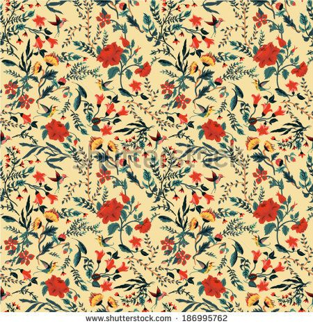 Seamless floral pattern with of roses and birds. Vector background.