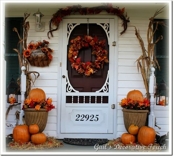 Autumn Porch With Mums Pumpkin Topiaries Holiday