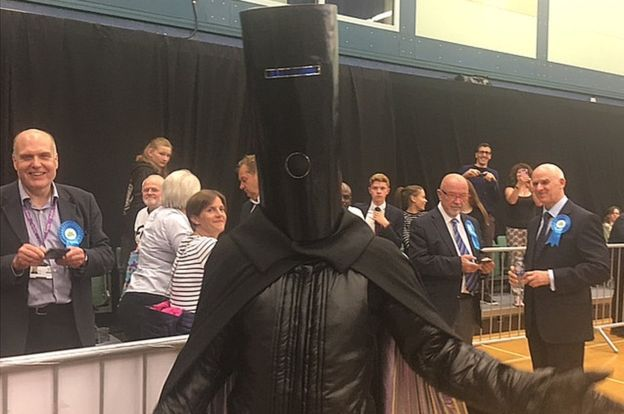 Lord Buckethead at the Maidenhead count, 9 June 2017. Theresa May didn't look too impressed with him, but perhaps that's because peers are barred from standing for parliament...