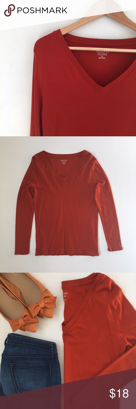 Long Sleeve Orange Tee Shirt Merona the ultimate tee, le t-shirt supreme. Shrink resistant, pre-washed for softness, low pill, slightly fitted. Gingersnap (burnt orange) color. New with tags. 100% cotton. Merona Tops Tees - Long Sleeve
