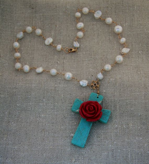 Large turquoise cross with red rose center on pearls linked in 14k gold-fill necklace