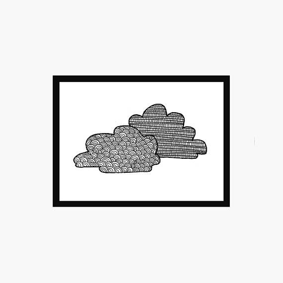 Cloud Art Print  Simple Nursery Decor  Minimal Patterned