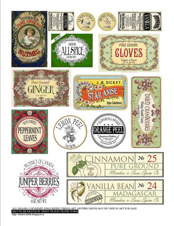 Vintage Style Spice Labels