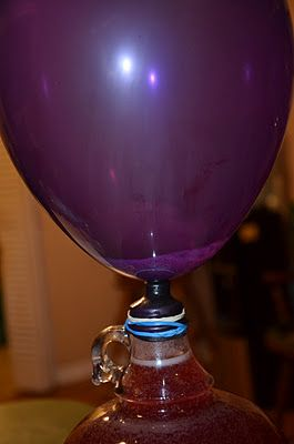 Easy Recipe for Wine Making - Grape juice & sugar & yeast & balloon = wine. Timothy used the balloon method for his first attempt at #winemaking. Bread yeast works, but you'll be better off getting your hands on real #wine yeast (Montrachet).
