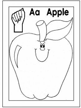 A for apple printables | Sign Language Alphabet Free Coloring Pages - Apple to Ice - Letter A