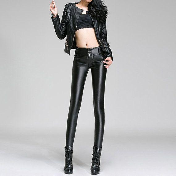 Black Skinny Leather Pants Wet Look Warm Legging by HartLeathers