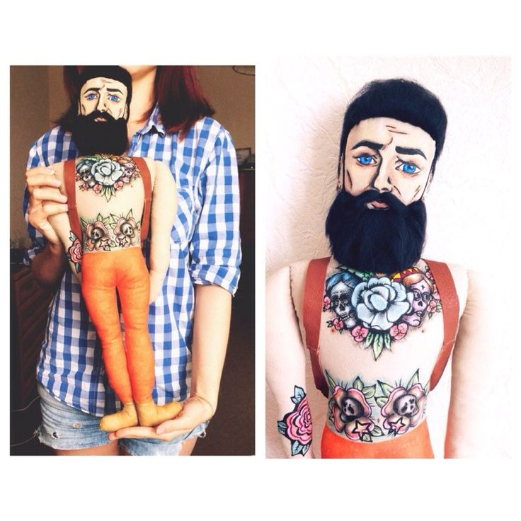 Beard Tattoo Doll from Moscow Local Shop Rock'n'Doll. See more here https://www.etsy.com/ru/listing/194782509/black-beard-doll-textile-doll-rag-doll?