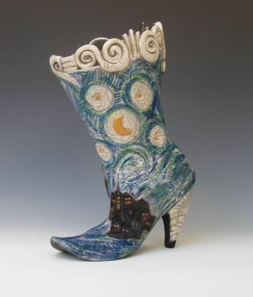 Handbuilt Ceramic Shoes And Boots, Raku Fired  CustomMade by Joanne Bedient