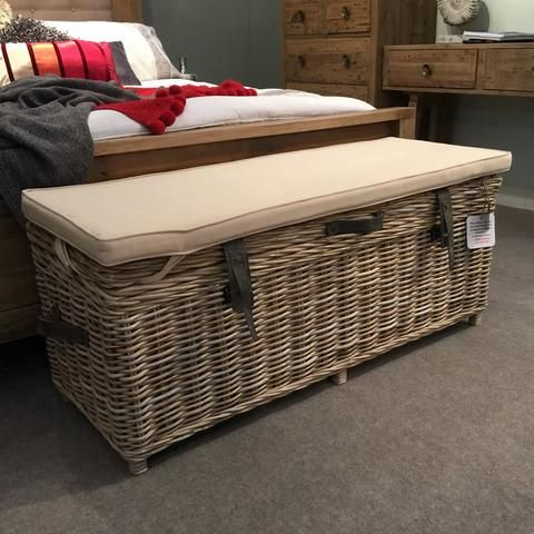 Handcrafted Timber Rattan Large Storage Bench
