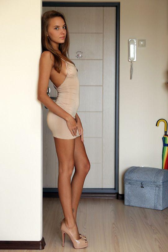 Brown Dress Brown High heels Dress teen blue eyes https://TheCrossFit.tumblr.com
