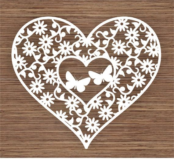 COMMERCIAL Butterflies in flowers and Heart PDF SVG by ArtyCuts