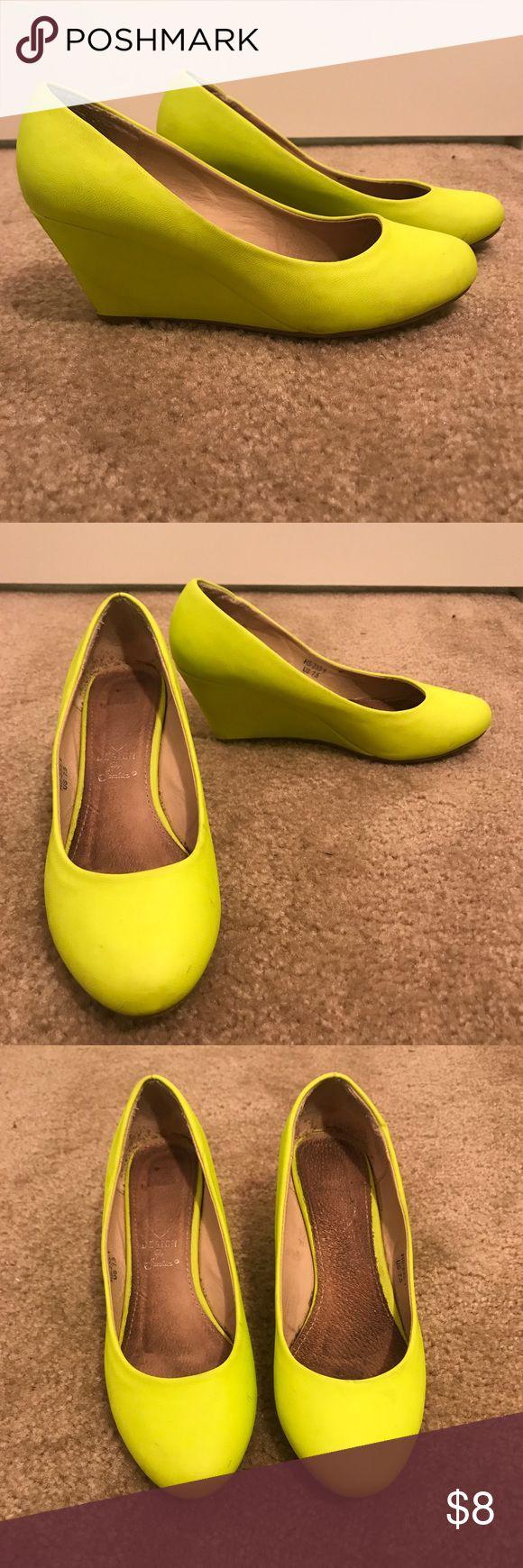 Neon bright yellow wedges heel shoes sz 7.5 Neon bright yellow wedges heel shoes size 7.5 Shoes Wedges