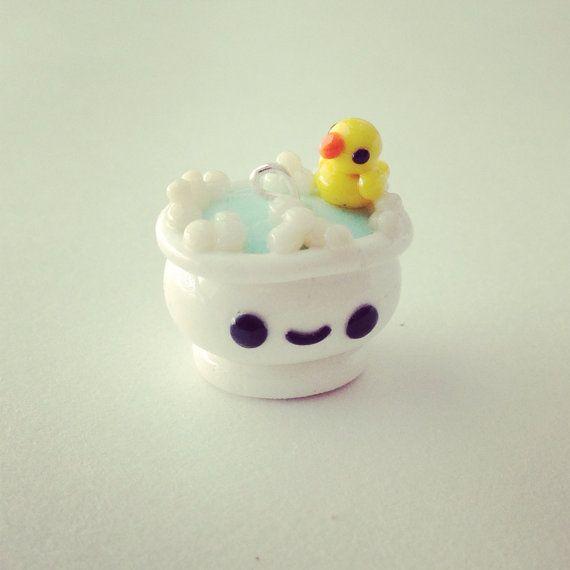 Bain et petit canard kawaii en FIMO
