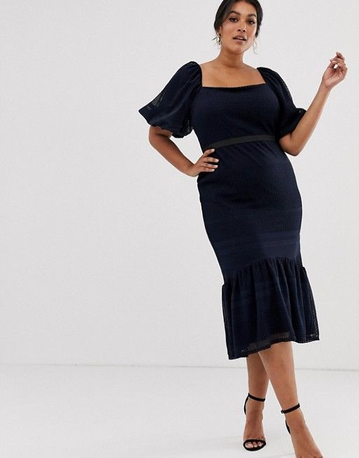 af1b5bab3f86 DESIGN Curve lace puff sleeve pephem dress in 2019   Phat   Dresses ...