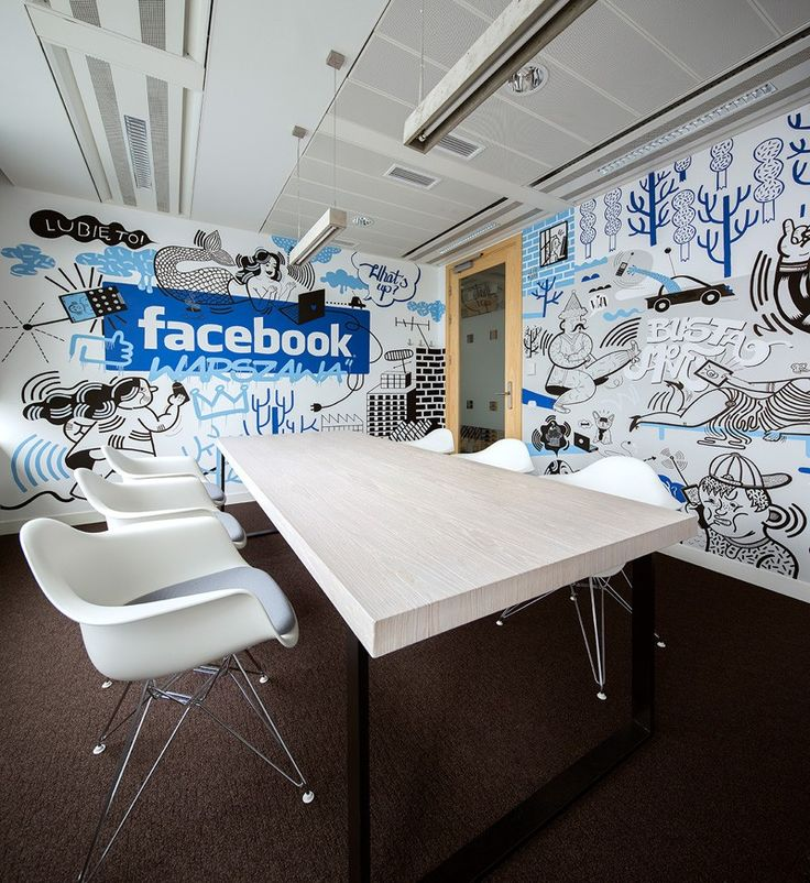 The Walls Of Facebook's Office In Poland Are Covered In Cartoon Symbols From The Nationalities Of The People Who Work There