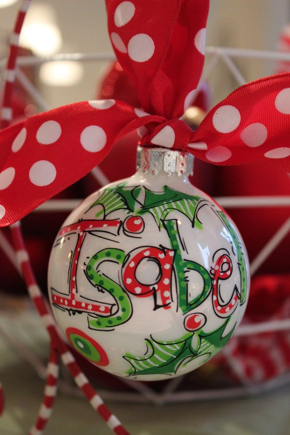 It doesnt get any simpler or cuter than a jolly name ornament in christmassy colors...a popular favorite    *More colors options available. Convo
