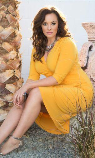 Plus Size Ciara Cinch Dress - Marigold at www.curvaliciousclothes.com #plussize #plussizefashion