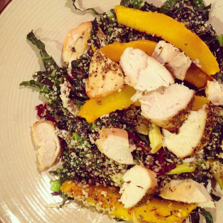 Chicken, pumpkin and kale salad.