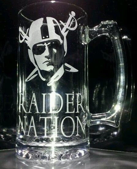 Man Cave Oakland : Etched oakland raiders beer mug quot raider nation cute