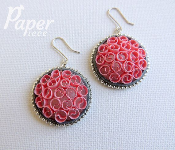 Pink jewelry pink earrings unique jewelry by PaperPiecebyEmelie