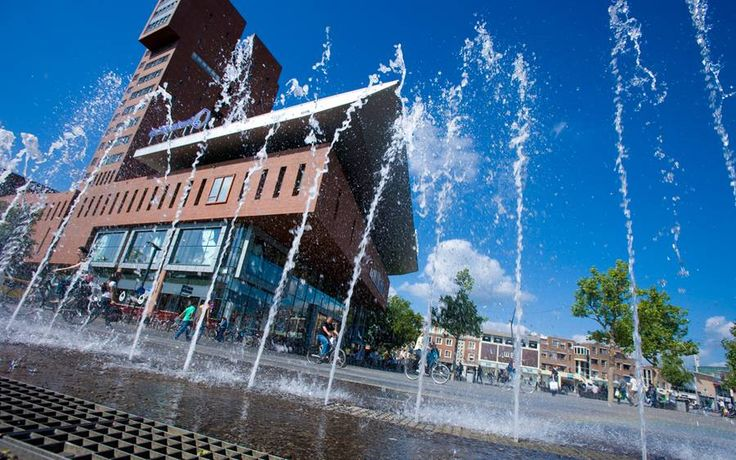 The 'Van Heekplein' in Enschede. The modern shopping square of Enschede.