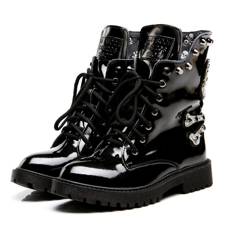 Women's Skull Boots Fashion Autumn Winter Leather Shoes //Price: $80.89 & FREE Shipping //     #skull #skullinspiration #skullobsession #skulls