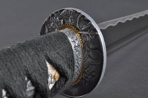 Fully Hand Forged Kami Black Japanese Tanto #338 by Handmade Sword. Save 20 Off!. $59.99. Blade: High Carbon steel,traditionally heat tempered;Edge: sharp edge;Hamon: Obvious hamon,hand polished on;Hi(blood groove): Hi on each side;Tsuka(handle): Genuine Rayskin wrapped with black cotton Ito with Menuki(Ornament);Saya: Wood deeply piano lacquered in black,with black cotton Sageo and dragonfly pattern;Tsuba: Kami tsuba;Condition: Brand new & can be fully disassembled and assemble...