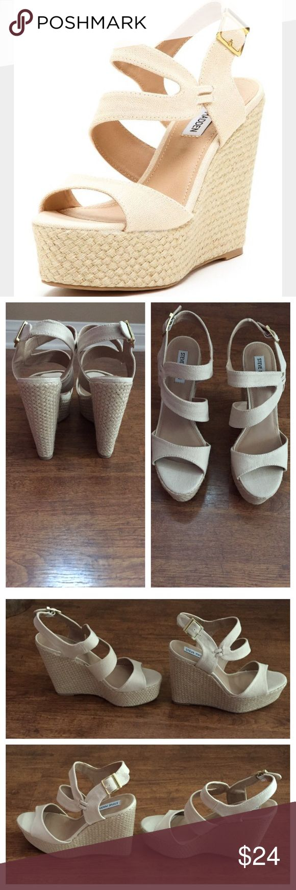 """Steve Madden """"Jenny"""" Shoes Platform Wedge Great condition platforms with 5"""" heel and 1.5"""" platform. 👗👚👜Check out the $6 section of my closet (before the sold items). Lots of bundle-worthy $6 items! 15% bundle discount on 2+ items in a bundle.🚫NO TRADES🚫 Steve Madden Shoes Wedges"""