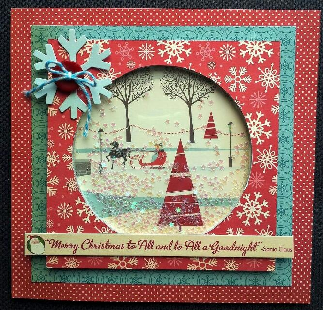 A better photo of my last minute xmas shaker card with star glitter. Mostly October Afternoon products.