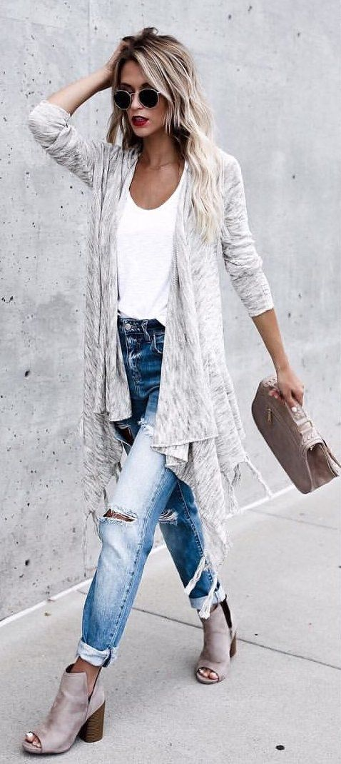 #fall #outfits  Grey Cardigan + White Tank + Destroyed Bleached Jeans