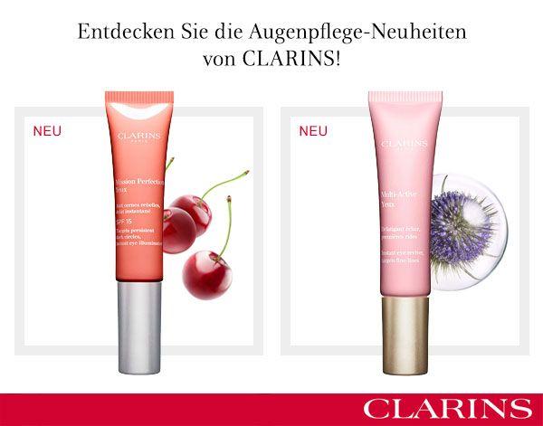 Neue Augenpflegeprodukte von Clarins  Angenehme Gel-Creme-Textur gegen erste Fältchen und Augenschatten. Preis pro Tube 45€