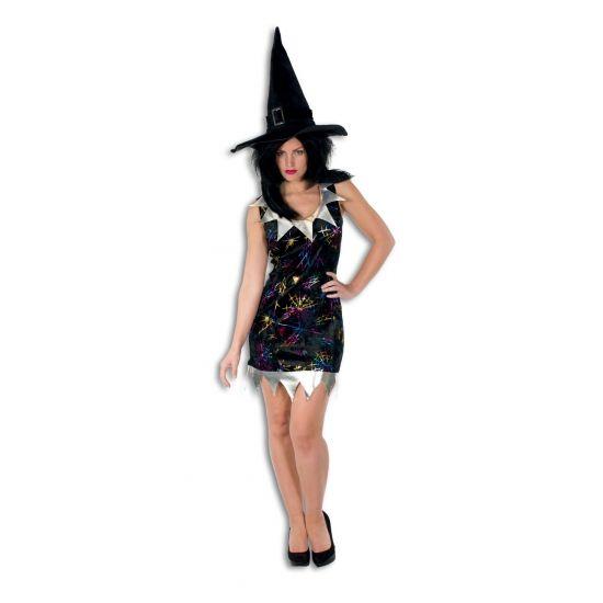 Kort heksen jurkje met zilveren kraag. Leuk heksen jurkje is zwart, met daarop felgekleurde spinnenwebben. Het Halloween jurkje heeft bovendien een zilverkleurige kraag en een zilverkleurige rand onderaan de jurk.