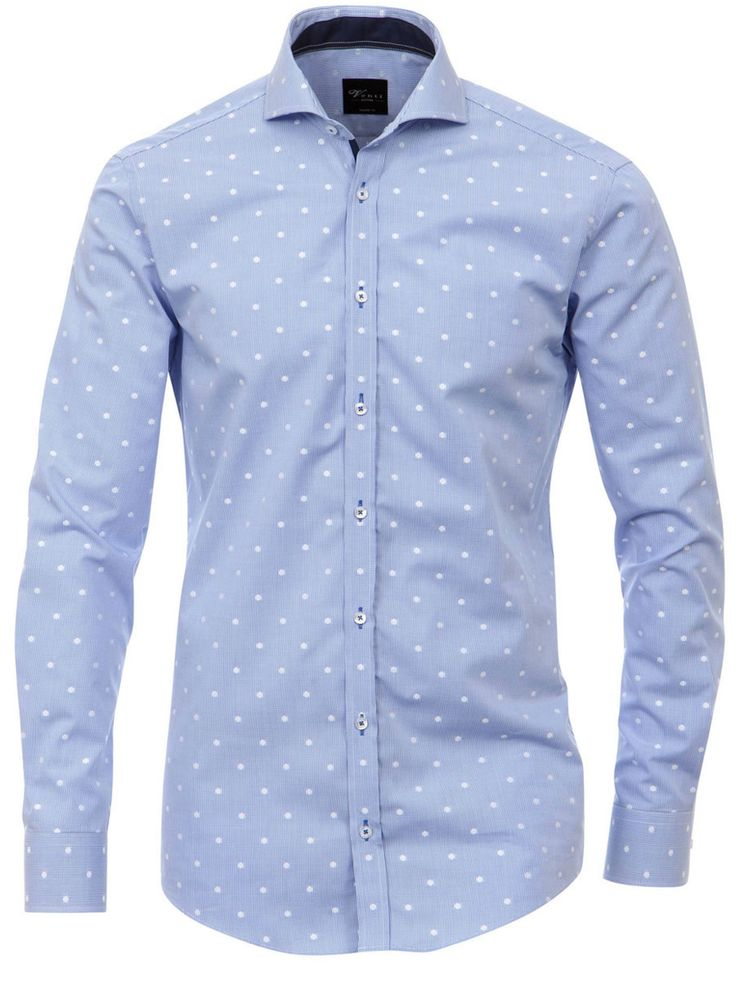 Print Muster   Venti Hemd blau weiß