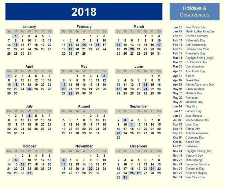 2018 US Holidays Calendar Template