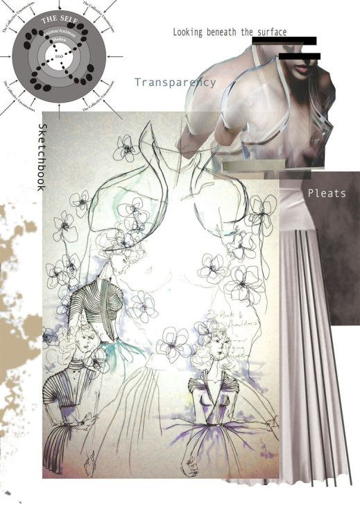 Fashion Sketchbook - fashion portfolio with fashion sketches and fashion design incorporating transparency, pleats and pattern // Emma-Jane Lord