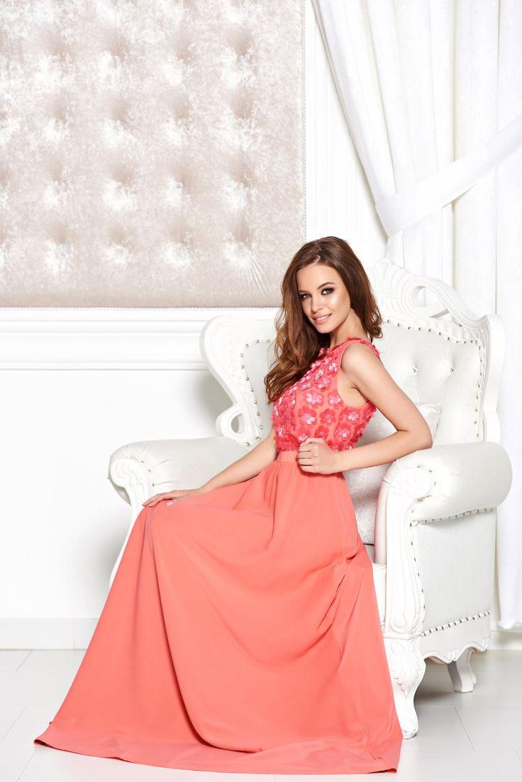 StarShinerS Irresistible Allure Coral Dress, raised flowers, back zipper fastening, veil