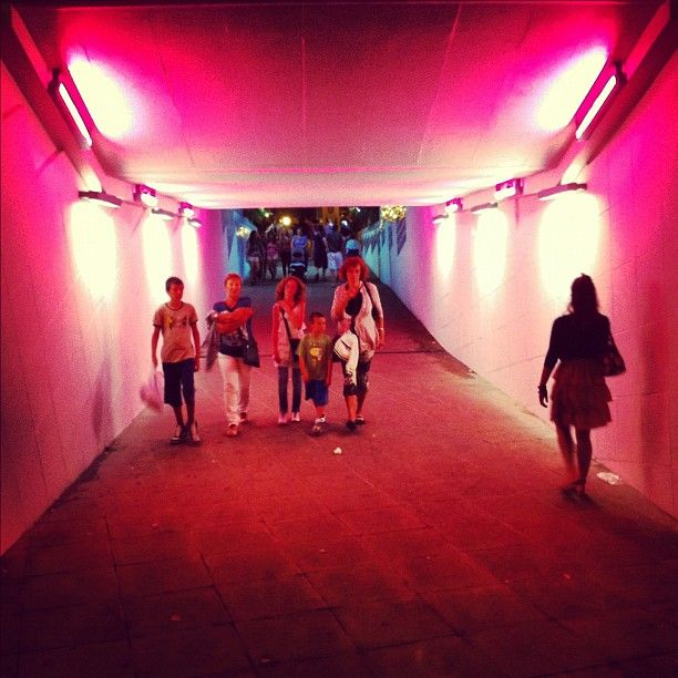 Tunnel rosa, Bellaria @igersbologna. Italy.  The Pink Night
